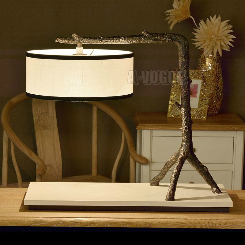 Nordic vintage rural style retro rustic resin antique tree root desk lamp with linen lampshade and E27 bulb(China (Mainland))