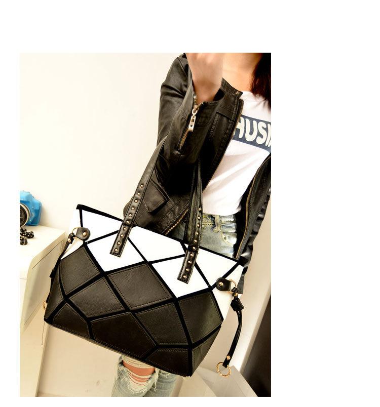 New 2015 Women Patchwork Square Handbag PU leather Shoulder Bag Large Women Handbag Fashion Tote(China (Mainland))