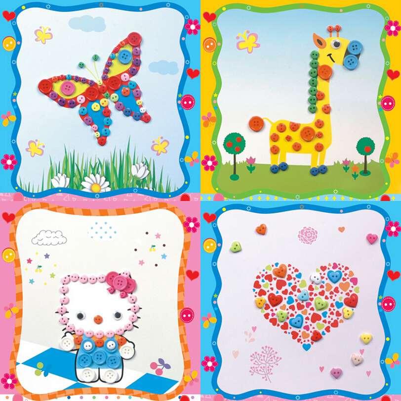 5pcs/lot Creative Buttons Painting Drawing Ability Develop Cute Animal Cartoon Tools Kids Toys Hello Kitty Princess Butterfly(China (Mainland))