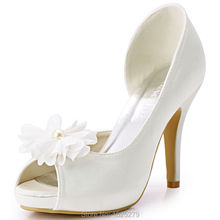 HP1560IAI New Fashion Woman Pumps White Peep Toe Flower Platform Stiletto Heel 4inch Satin Wedding Shoes