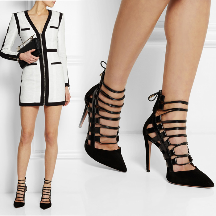 Black White Sandals Gladiators New 2016 Woman Pumps Leather Flats High heels Pointed toe Strappy Ankle Booties Sandals Elegant<br><br>Aliexpress