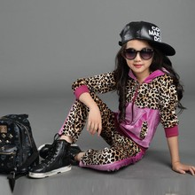 2015 New Children Clothing Sets Girls Sport Suit Zipper Girls Sets Leopard Print jacket + Pants Kids Clothes Baby Clothing set(China (Mainland))