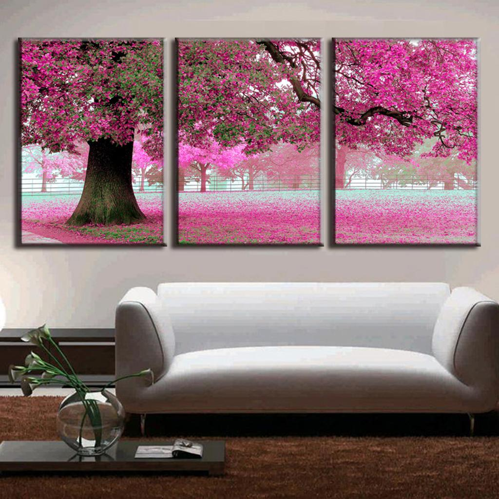 3 Pcs/Set Discount Framed Paintings Modern Landscape Canvas Print Pink Strewn Petal Canvas Wall Art Picture Top Home Decoration(China (Mainland))