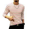 2016 New Fashion T Shirts Men T Shirt Autumn Casual Menswear Striped Men Slim Fit Trend