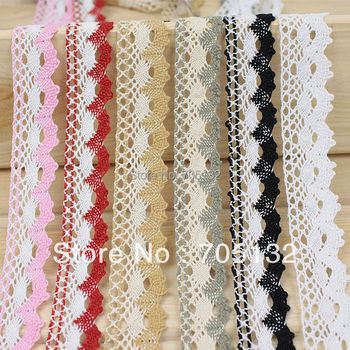 C1 100% cotton colorful cotton lace trimming  DIY handmade webbing ribbon 2.5cm-2.8cm 30meters