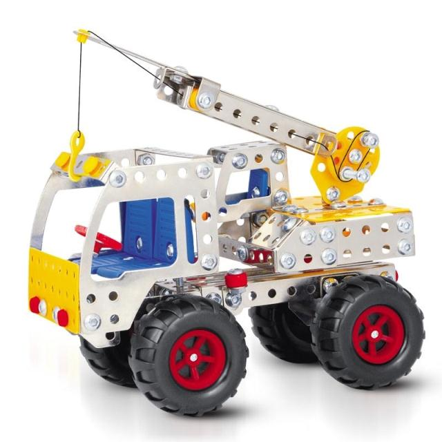 2015 Limited Sale > 6 Years Old Diy Sport Toys 3d Alloy Puzzle Assembled Crane Model Toy Metal Vehicles Brinquedos 249pcs(China (Mainland))