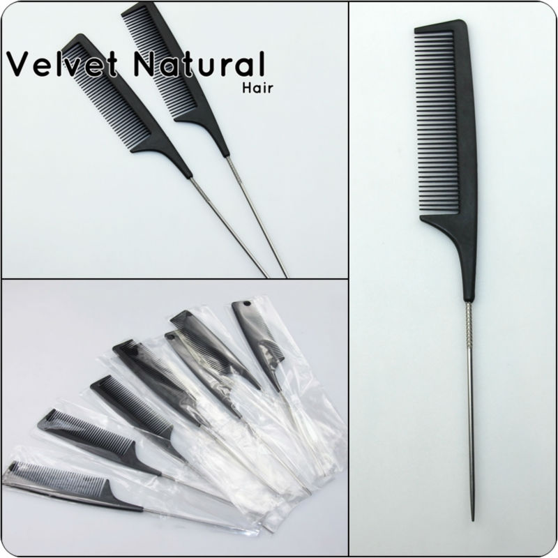 Black metal tail comb brush heat resistant combs for Professional Salon hairdressing combs to styling hair extension/wig