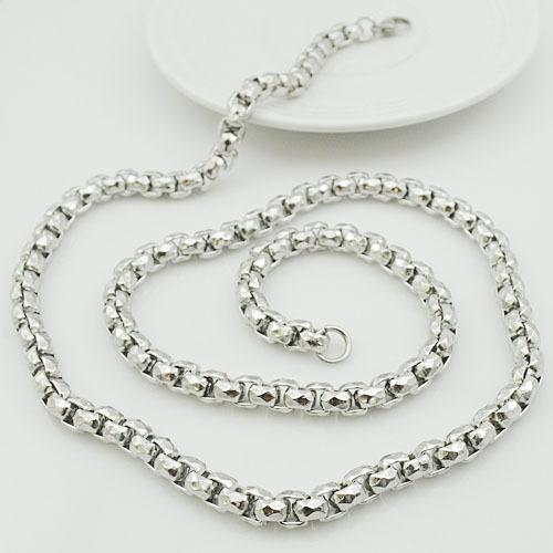 Панк байкер стиль 70 см 7 мм серебро тон нержавеющая сталь Rock коробки ожерелья для ювелирные изделия VN129