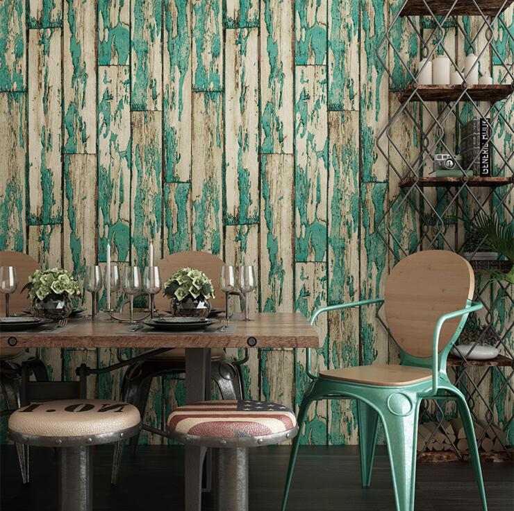 Vintage Imitation Wood Board Striped Wallpaper PVC Surface Waterproof Embossed Restaurant Living Room Home Decor Wall Paper roll(China (Mainland))
