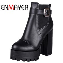 ENMAYER Black  Yellow Platform Boots For Women New Big Size34-43 Round Toe Zip Fashion Ankle Boots Wedding Rock Punk Shoes Women