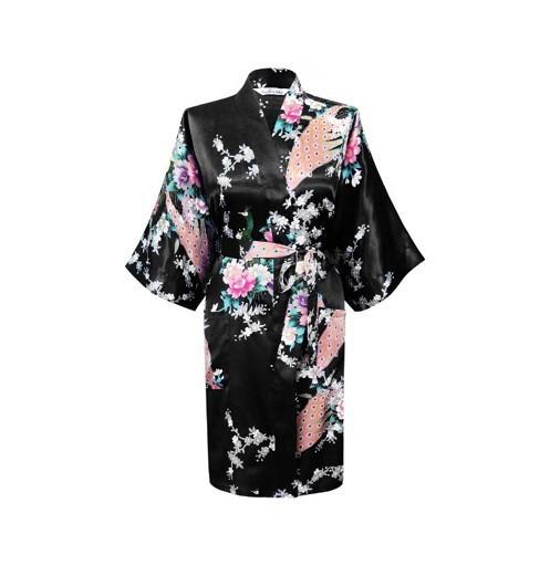 2015 шелк кимоно сатинировки женщин халат Длинныйué роковой для женщины ночь ...