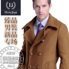 Free Shipping !! England Fashion Men's Double Breasted Woolen Outerwear Medium-Long Woolen Overcoat Wool Coat / S-3XL(China (Mainland))