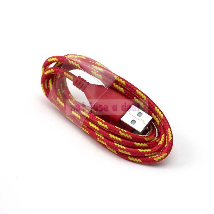 Red Color 1PC Durable Braided Fabric Nylon USB Sync Data Charger Cable fr iphone 4S 4 3GS for Ipod(China (Mainland))