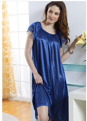 Night shirt Sexy Brace Female Imtated Silk Lace Night Pajama Female Nighty Gown Robes sexy sleeping dress(China (Mainland))