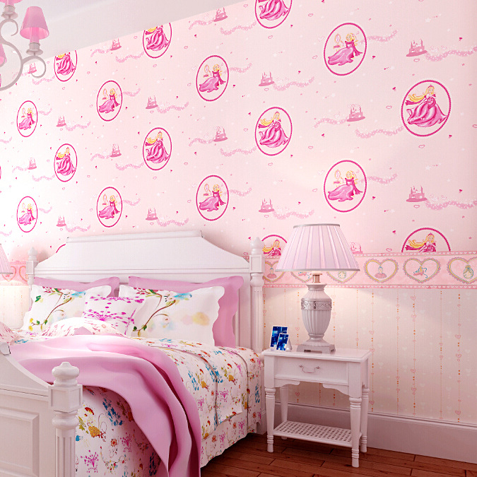 pure pink disney princess bedroom wallpaper romantic girl