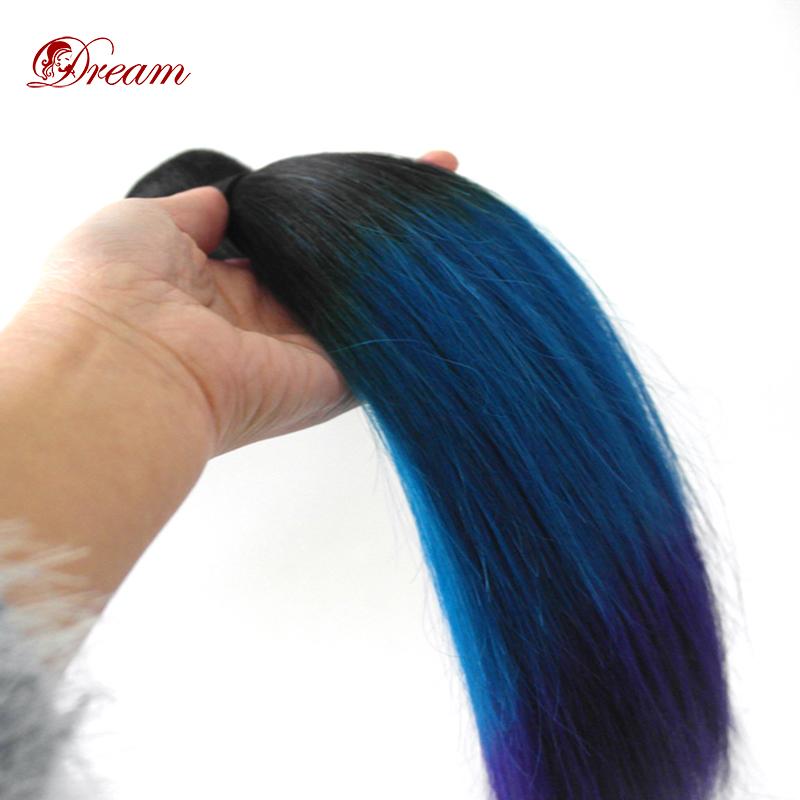 2015 Summer Fashion (4 Bundles/lot) Blue/Purple Ombre Human Hair Weaves Extensions Brazilian Virgin Hair Straight Free Shipping<br><br>Aliexpress