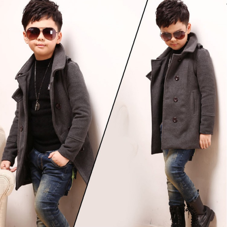 2015 new children's winter overcoat boys fashion jackets coat long sleeve woolen wind breaker coat, C190 - Rising Kid store