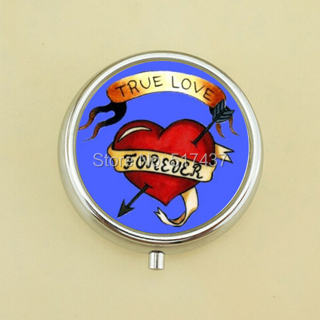 Free Shipping True Love Forever Pill Box Case Medical Pill Box Love Jewelry Mini Metal Pill Box(China (Mainland))