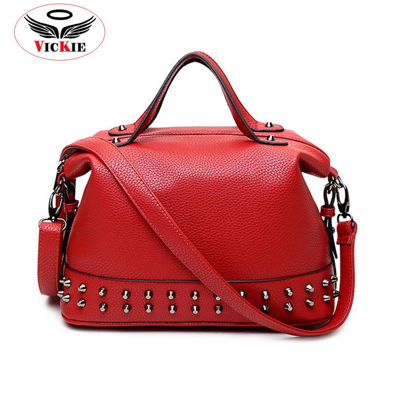 2016 Fashion Rivet Bag Women Shoulder Bags Casual Lady Tote Boston Handbags Vintage Messenger Bags Leather Totes Dumpling Bag 34