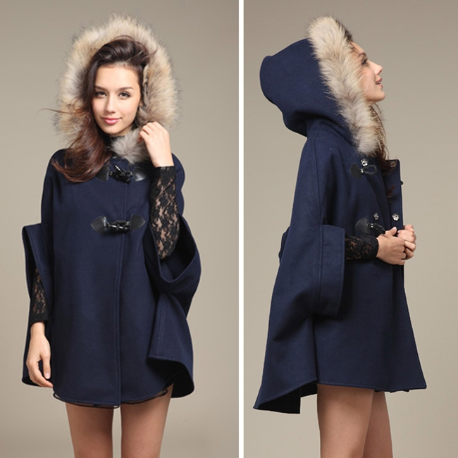 2015 Hot Womens Girl Faux Fur Shawl Wool Hooded Poncho Batwing Half Sleeve Cape Coat Winter Jacket Cloak Poncho(China (Mainland))