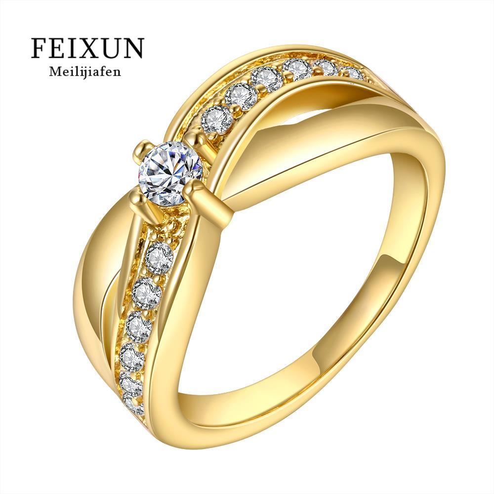 Anel Bague Ringen Voor Vrouwen Big Rings For Women Gold Zircone Plated Round Trendy Crystal Brass Ring Free Shipping R575(China (Mainland))