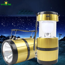 New Camping Lantern LED Solar Rechargeable Camp Torch Light Flashlights Emergency Lamp Power Bank for Android Phone IOS Iphone