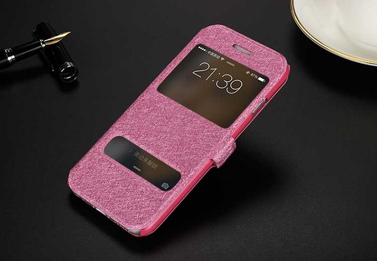 For iPhone 6 Plus 6S Plus Built-in Card Slot Silk Pattern Case 5.5 inch Stand for Flip Leather Phone Dual Window View PU Cover