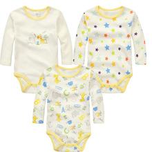 3pcs Cartoon Cotton Baby Rompers Summer Autumn LongSleeve Baby Wear Infant Jumpsuit Boys Girls Clothes Roupas De Bebe Infantil(China (Mainland))