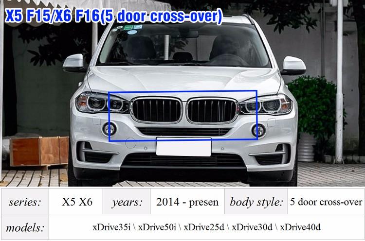 Купить Запасные части для BMW X5 X6 серия F15 F16 полный привод транспортных средств глянцевый цвет двойной планки передний капот ABS решетка решетки 2014 +