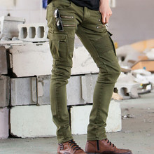 Hi-Street Mens Denim Biker Cargo Jeans Famous Brand Design Multi Zipper And Pockets Men Stretch Skinny Moto Pencil Jeans Q1690(China (Mainland))