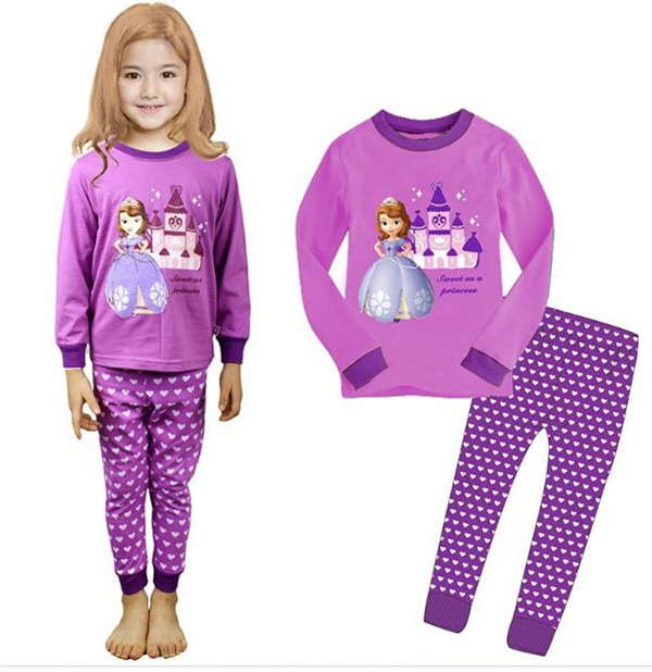 Free shipping 2-7 Year boys girls sleepwear PJ set 2pieces 94% cotton 6% Lycra cute kids Christmas pajamas sleep wear(China (Mainland))