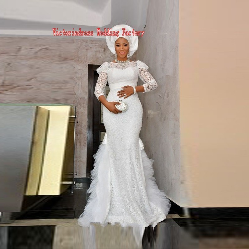 african wedding gowns long sleeve dubai style white bridal dresses