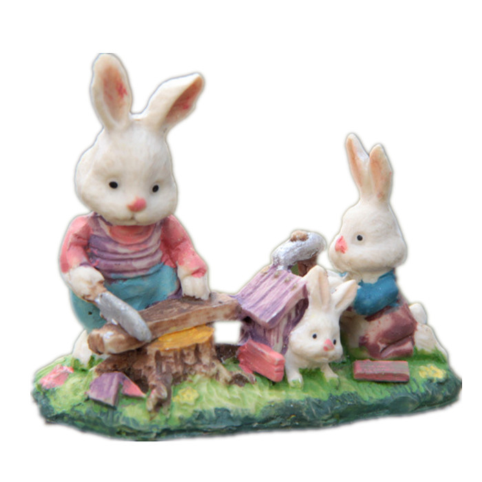 Rabbits Family Building house Resin DIY Micro landscaping Home Decoration