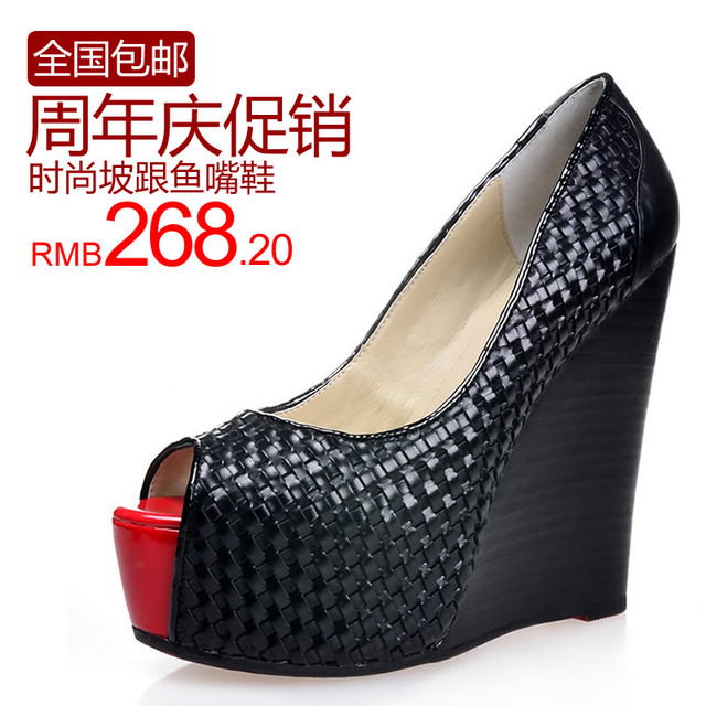 Free Shipping! Female sandals 2013 summer wedges red sole shoes fashion open toe platform wedges high-heeled sandals