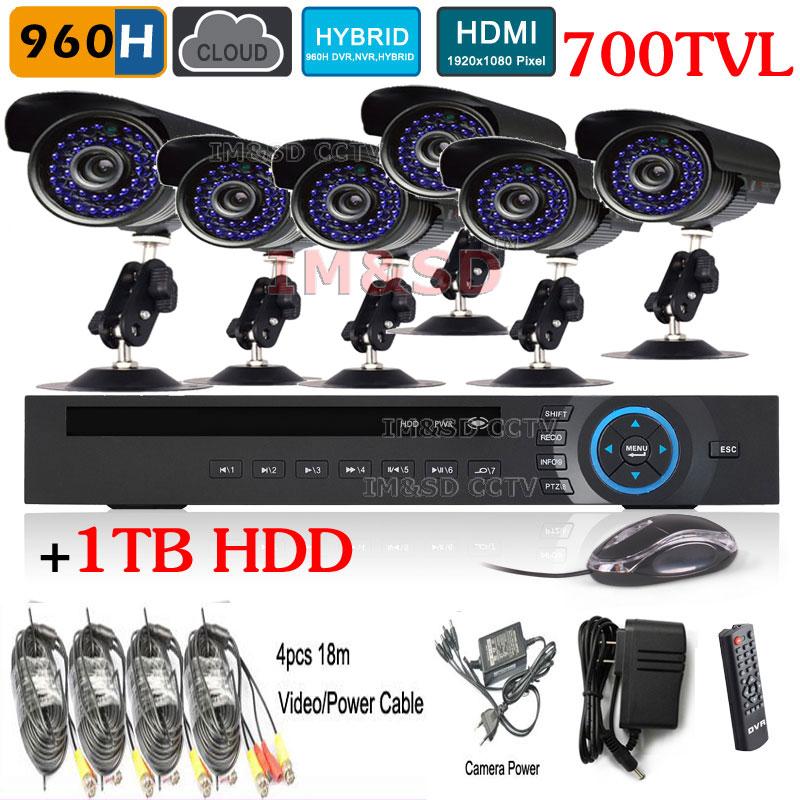 Hot Home 8CH 960H Camera System HVR NVR DVR+1TB HDD 700TVL Outdoor Day Night IR Camera DIY Kit Color Video Surveillance System<br><br>Aliexpress