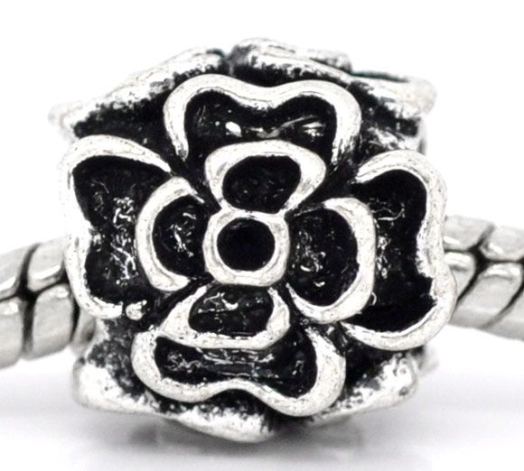 Antique Silver Flower Charm Beads Fit European Charm 10x10mm,sold per packer of 20 Mr.Jewelry(China (Mainland))
