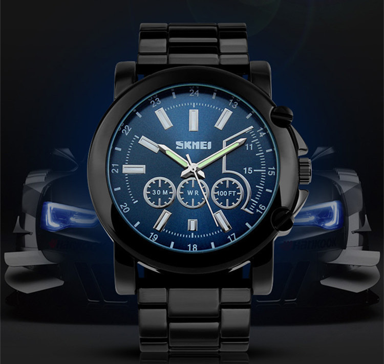 Black Fashion Men Casual Full Steel Watches japan Quartz 6 Hands Analog Clock Decorated Sub dials 50MM Big Size Relojes NW2710<br><br>Aliexpress