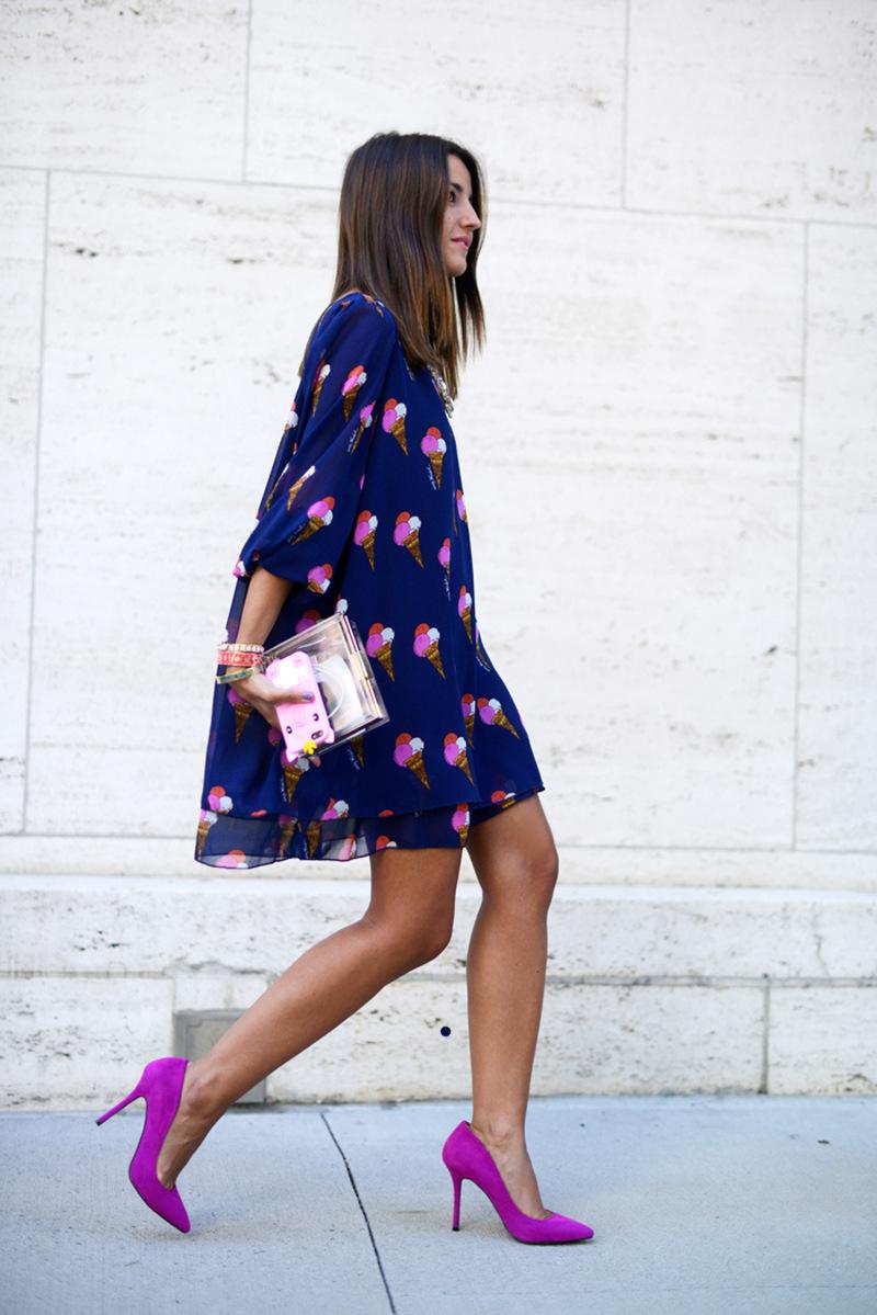 2015 New Casual Fashion Summer Chiffon Dress Ice Cream Printing Three Quarter Blue Chiffon Dress(China (Mainland))