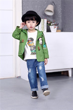 Spring New Kids Children Cool Military Boys and Girls Fashion Baby Windbreaker Jacket Kids Clothing Green Orange Cartoon Print