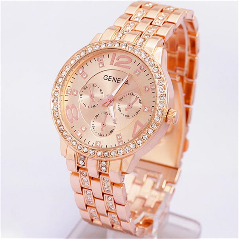 Luxury Geneva Crystal Women Rose Gold Stainless Steel Analog Quartz Wrist Watch<br><br>Aliexpress