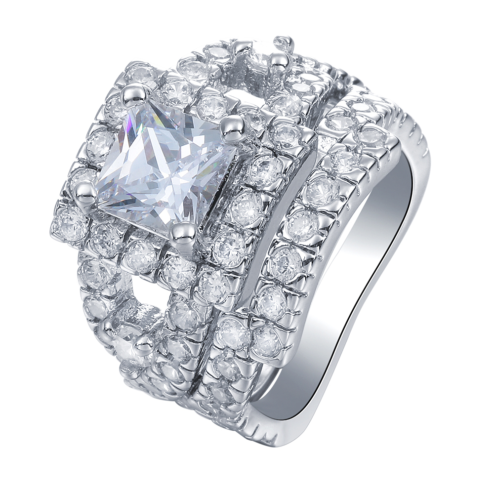 2pc Luxury Large Square While AAA CZ Diamond Wedding Rings Sets for Women Silver Fashion Jewelry Anniversary Gift Drop shipping(China (Mainland))
