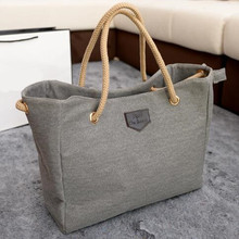 Womens Casual Canvas Shoulder Tote Bag with Rope Strapping