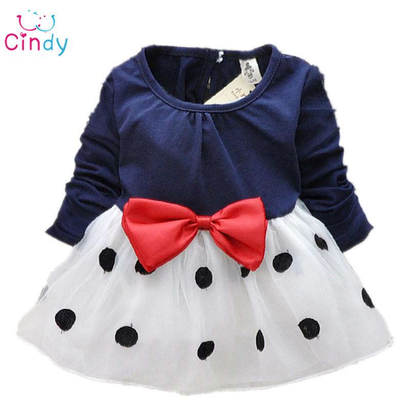 Baby girl dress,New 2015,dresses girls,bebe,newborn,children girls bowknot long-sleeved princess dress,baby clothes - Cindy store
