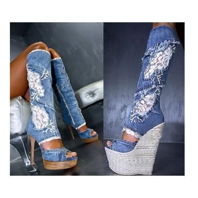 Jeans Sandals Sandals Blue Jean Boots