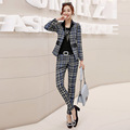 Fall new European and American OL lattice small suit professional trousers suit long sleeved small