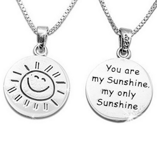 """You are my sunshine"" Engraved Letter Pendant Necklace silver plated woman/grils chain link necklace 1pcs/bag free shipping!!(China (Mainland))"