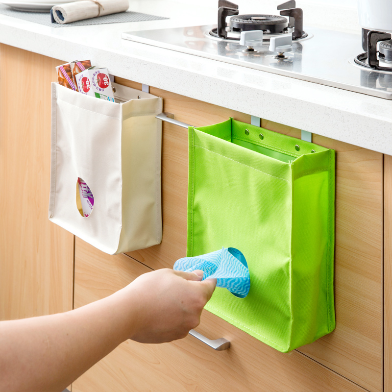 Hanging Cabinet Rubbish Trash Bag Storage Bags Cupboard Door Back Grocery Bag Organizer Container Hooks Kitchen Sundries Holder(China (Mainland))