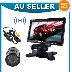 """Car Rear View Kit 7"""" Color Audio Monitor + Wireless 9 IR Led Camera"""