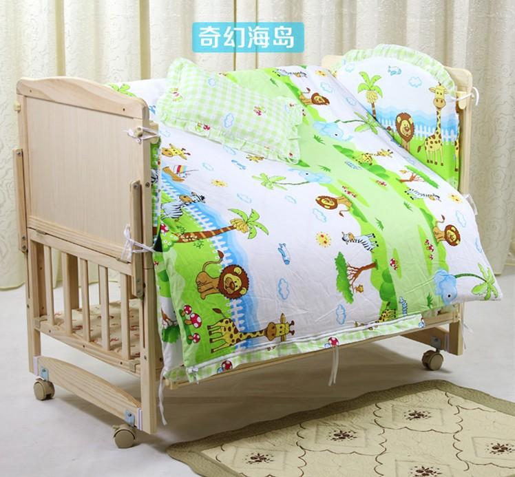 Promotion! 10PCS Baby bedding set animal crib bedding set 100% cotton baby bedclothes (bumpers+matress+pillow+duvet)<br><br>Aliexpress