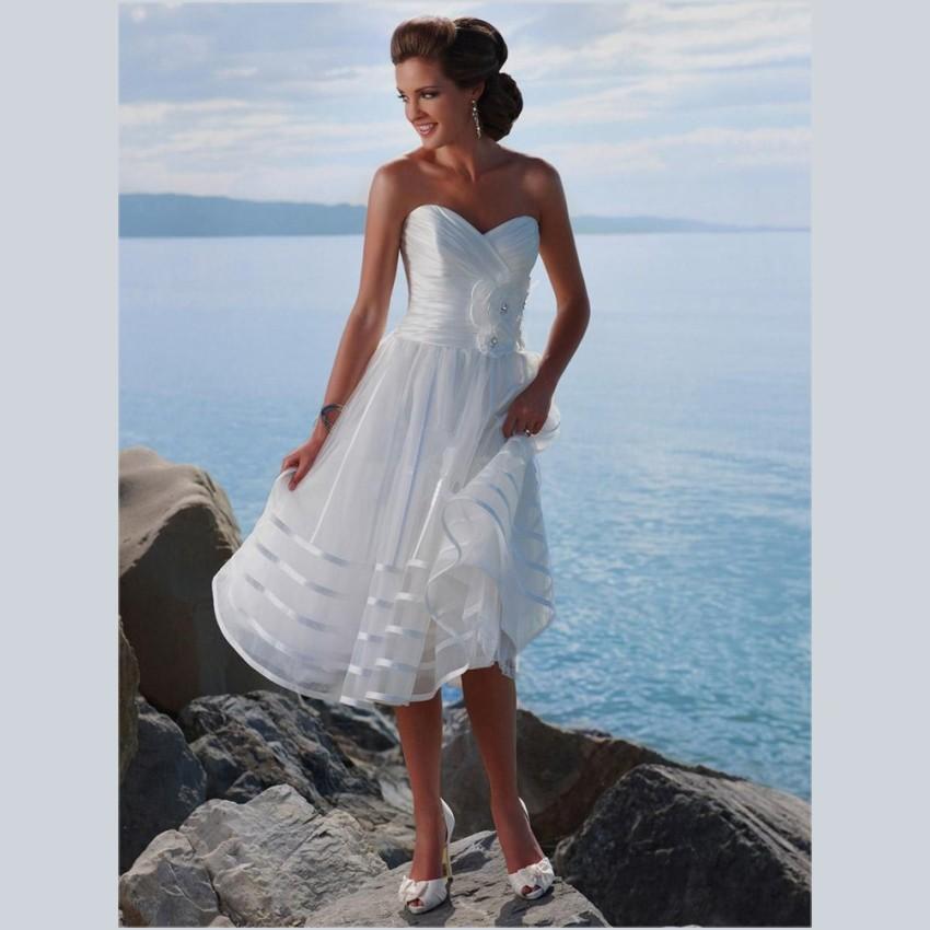2015 sexy sweetheart white organza wedding dresses tea for Sweetheart tea length wedding dress